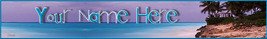 Caribian Beach Custom Website Banner blue skies rocks waves beach huts 135a - $7.00