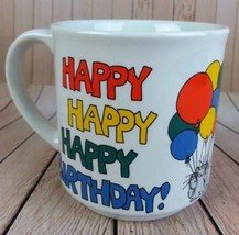 Sandra Boynton Coffee Mug Happy Birthday Tea Cup Funny Kitty Cat Ballons... - $20.89