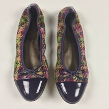 EUC Sesto Meucci Ballerinas Flats Leather Patent Captoe Tweed Fabric Sz ... - $49.99