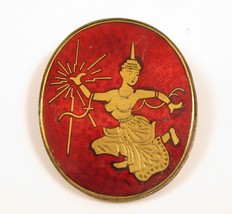 Asian Vintage Ruby Red Enamel Siam Dancer Gold Plated Oval Thai Brooch P... - $42.56