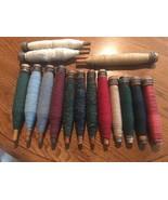 Lot/15 Vintage Textile Mill Sewing Spindles Bobbin Spools Thread Yarn Pr... - $59.39