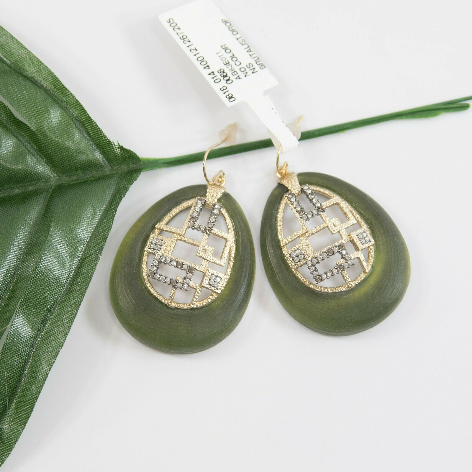 Primary image for Alexis Bittar Brutalist Olive Lucite Crystal 14k Gold Plated Drop Earrings NWT