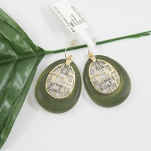 Alexis Bittar Brutalist Olive Lucite Crystal 14k Gold Plated Drop Earrings NWT - $162.86