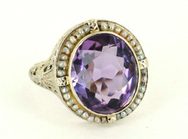 Antique Deco Stunning 14k Wh Gold Filigree 6.75 ct Amethyst Seed Pearl R... - $503.99