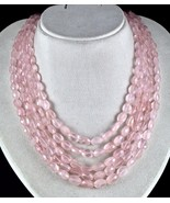 5 L 801 CTS NATURAL PINK ROSE QUARTZ FACETED CABOCHON BEADS NECKLACE FOR... - $212.80