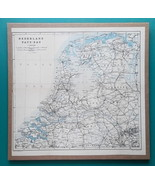 "HOLLAND - 1905 PHYSICAL MAP incl. Railways Roads 11.5 x 12""  (29 x 30 cm) - $27.00"
