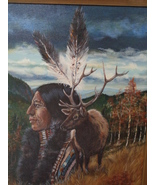 DEE Oil Painting On Canvas Indian Buck Deer Nature Scene 22 x 26 Framed - $299.99