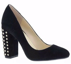 Jessica Simpson Bainer Black Suede Leather Round Toe High Thick Heel Pumps - $79.20