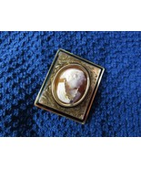 Antique 14K 14KT Yellow Gold 1880s Habille Cameo Diamond Brooch Pin 11.4... - $381.15