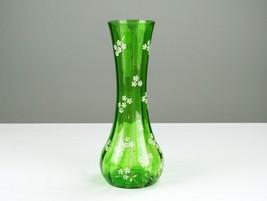Northwood Venetian Green Enameled Flower Vase, Antique EAPG Utopia Optic... - $73.50