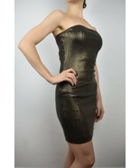 Bebe size S Copper Sequin Strapless Stretch Cocktail Dress With Long Zipper - $24.77