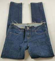 Guess Jeans Womens Sz 33 Skinny Mid Rise Custom Raw Waist Medium Wash De... - $22.92