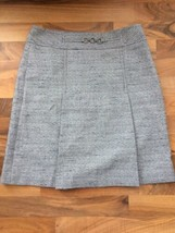 Ann Taylor Straight Blue Nubby Pencil Skirt Size 8 Faux Inverted Front Pleats - $17.61