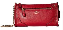 NWT Coach Mickie Red Grain Leather Crossbody Bag  - $186.07