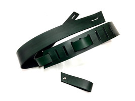 Guitar strap - Blackened Green Leather - Hand C... - $75.00