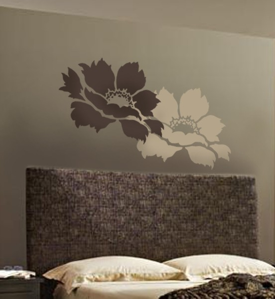 Stencil Design Wall Decor : Tree peony wall stencil large reusable stencils for