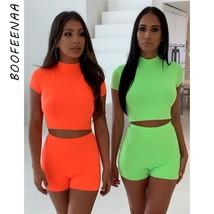 BOOFEENAA Neon Green Orange Two Piece Set Top and Pants Tracksuit Sexy C... - $44.45