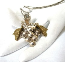 Sterling Pendant Necklace, Grape Cluster, Grapes, Brass Leaves, 1980's, ... - $38.00