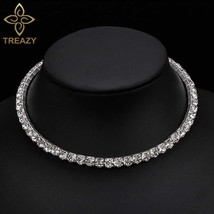 TREAZY Bridal Fashion Crystal Rhinestone Choker Necklace Women Wedding Accessori - $17.90