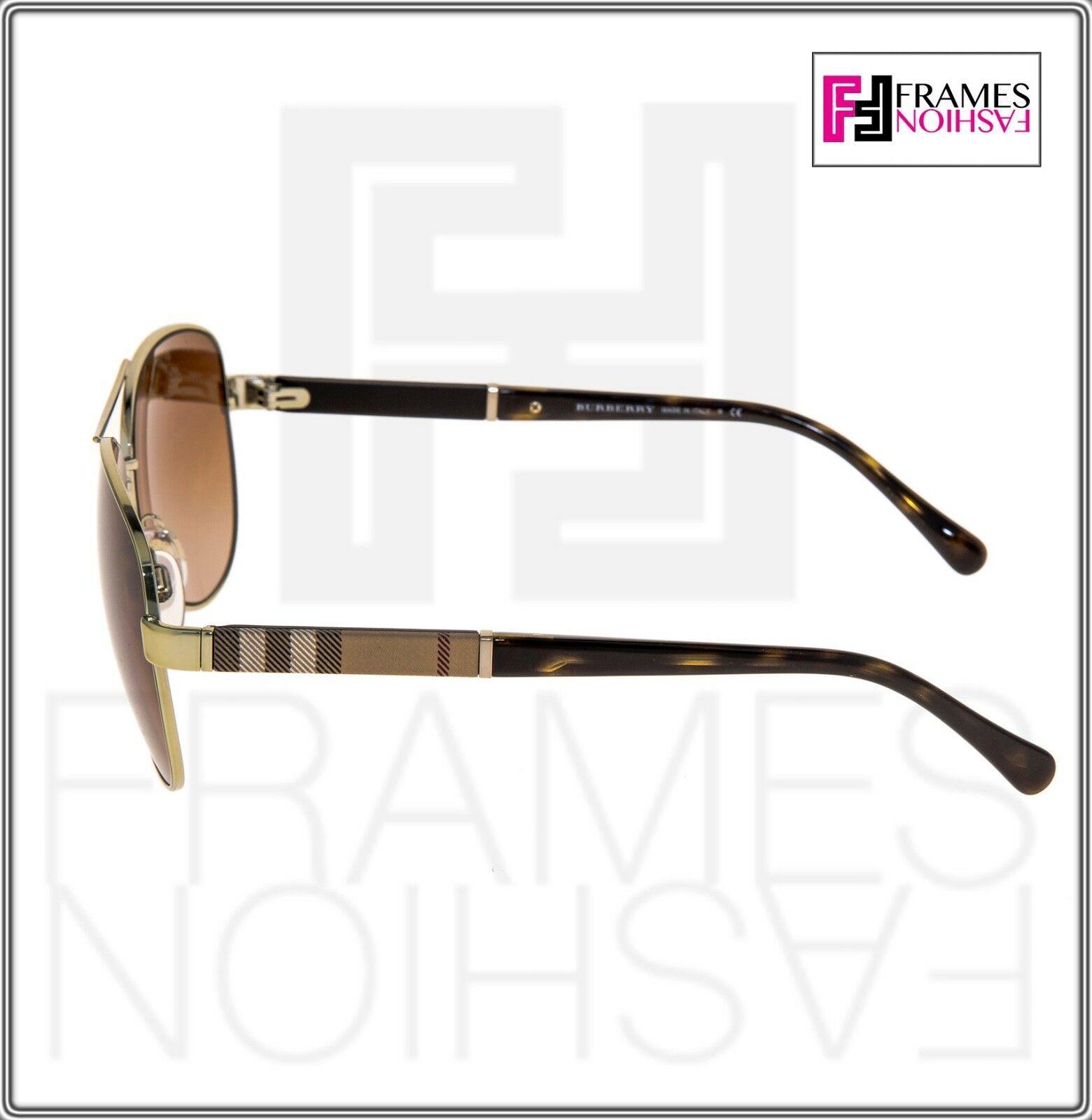 BURBERRY BE 4178 Shiny Black Print Round Oversized Gradient Sunglasses 4178