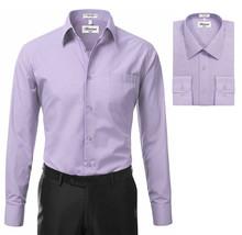 Berlioni Italy Men's Premium Classic Barrel Cuff Solid Lavender Dress Shirt