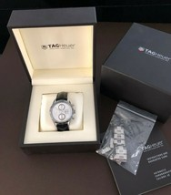 Tag Heuer Chronograph Men's watch CV2011 Leather and Stainless Steel band - $1,994.94