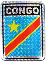 ALBATROS Congo Democratic Country Flag Reflective Decal Bumper Sticker f... - $15.02