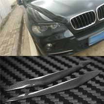 Carbon Fiber Car Headlight Cover Eyebrows Eyelid Trim Decals For BMW X5 E70 - $69.29