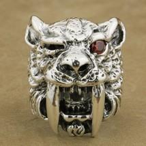 925 Sterling Silver Red CZ Eye Sabretooth Ring Mens Biker Rock Punk Tige... - $174.17