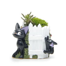 Black Cat White Fence Resin Cacti Micro Landscape Flowers Succulent Plan... - $13.67