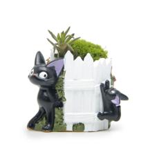 Black Cat White Fence Resin Cacti Micro Landscape Flowers Succulent Plants Pot - $13.67