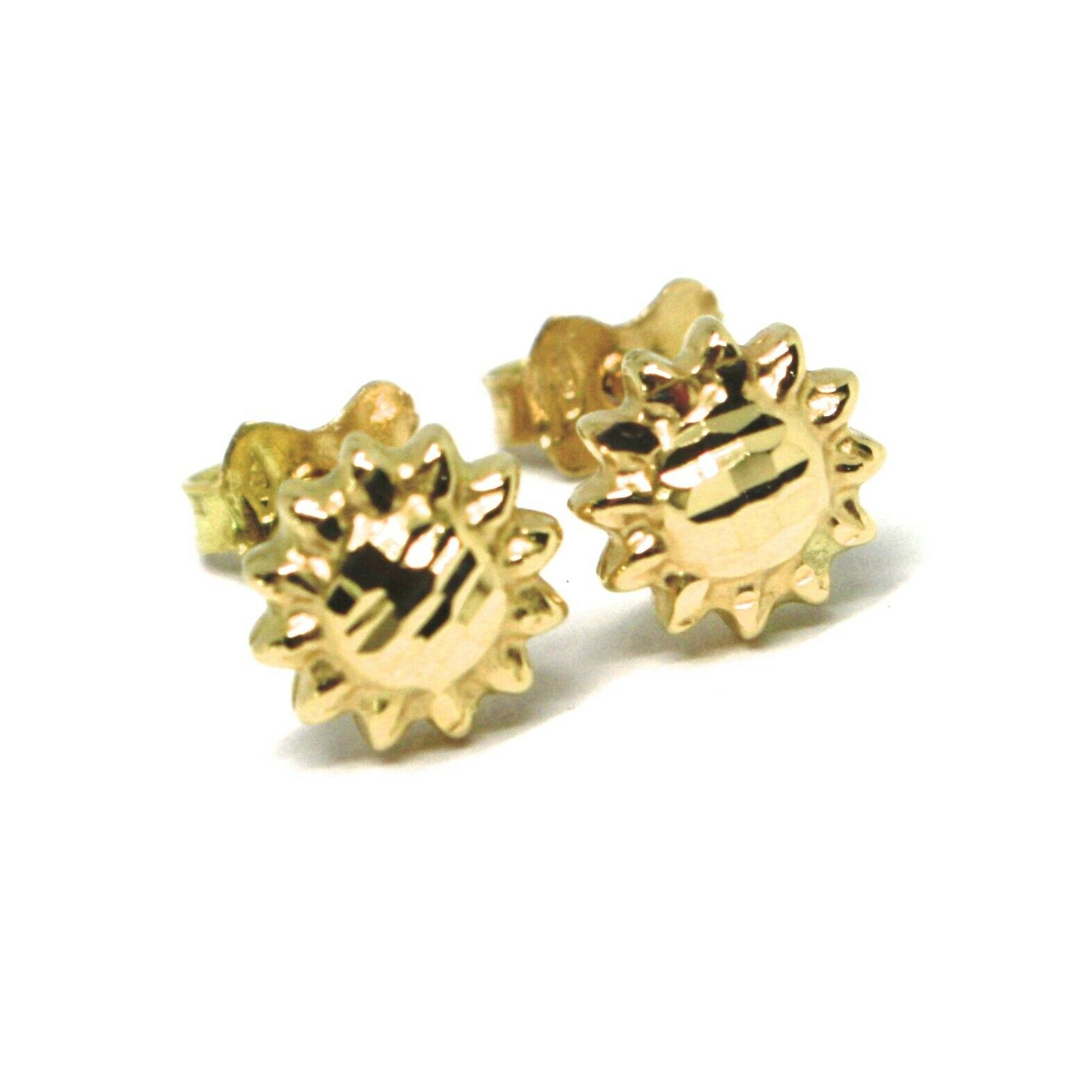18K YELLOW GOLD KIDS EARRINGS, FINELY WORKED HAMMERED MINI SUN, 0.3 INCHES
