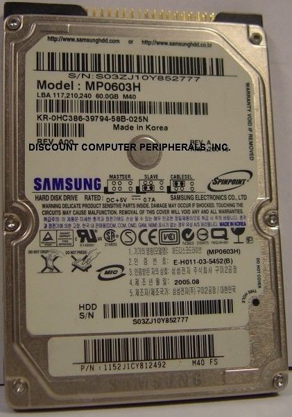 "New Samsung MP0603H 60GB 2.5"" 9.5MM IDE 44PIN Hard Drive Free USA Ship"