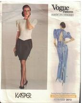 2072 Vogue-Schnittmuster Misses Oben Knielanges Abendkleid Kleid Kasper Oop - $9.86