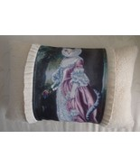 Fancy Portrait Girl Kitty Cat  Decorative Throw Pillow w Insert Whimsica... - $28.99