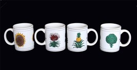4 BUON GIORNO Pineapple*Sunflower*Artichoke*Flower Hvy Mugs Appear Unused Nice - $36.99