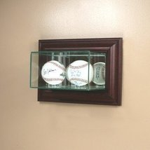 Perfect Cases Wall Mounted Glass Double Baseball Display Case with Mirror - $78.88
