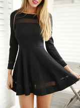 Mini Skater Dress - Black / Chiffon Inserts / Long Sleeve image 3