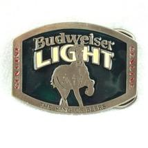 Vintage 1970s Budweiser Bud Light Belt Buckle The King of Beers Metal & ... - $14.99