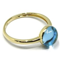 SOLID 18K YELLOW GOLD RING, CABOCHON CENTRAL BLUE TOPAZ, DIAMETER 8mm image 2