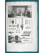 1763 DIDEROT PRINT - Resin Button Maker View of Shop Punching Buffing Dr... - $21.42
