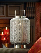 Tall Silver Lace Design Candle Lamp - $49.95