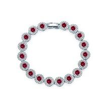 My Jewellery Story MYJS Angelic Tennis Bracelet Rhodium Plated with Ruby... - $38.95