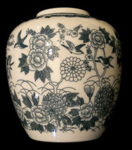 Ceramic Vase Green Bird Flowers Imari Willow Open Ginger Jar Urn Collect... - $19.76