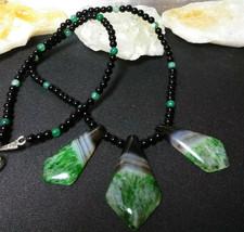 Necklace, Natural Stone Black Onyx with Druzy Quartz Pendant  Boho Healing - $26.24