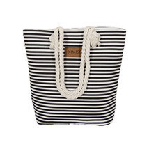 Beach Bag Canvas Women Summer Shoulder Striped Large Capacity Shopping H... - $12.47