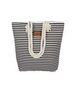 Beach Bag Canvas Women Summer Shoulder Striped Large Capacity Shopping H... - £9.19 GBP