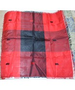 RED & BLACK RAW SILK KERCHIEF - $35.00