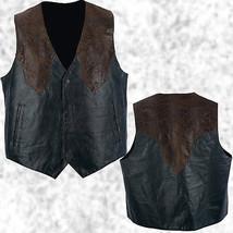 Mens Western Cowboy Style Black & Brown Leather Vest Lined Southwestern - $21.99+