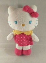 "Hello Kitty Plush Stuffed Animal Sanrio Fiesta Polka Dot Dress Pink Bow 7"" Tall - $7.87"